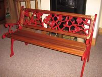 4ft GARDEN BENCH. Fully renovated with re-claimed mahogany, solid brass bolts and corner plates.