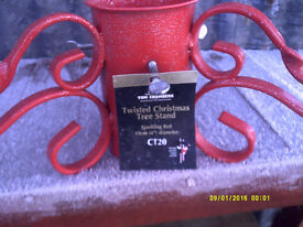 sparkling red twisted xmas tree stand
