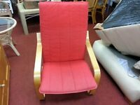 Chair & Stool - Wooden Frame and Red Fabric Lazy / Relaxer Chair & Stool