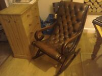 Love!y chesterfield leather rocking chair