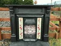 101 Cast Iron Fireplace Surround Fire Old Tiled Insert Antique Victorian Style Full