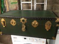 Vintage green travel/steamer trunk for sale