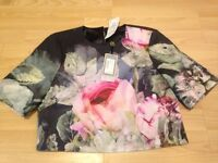 Ted Baker Bran New With Tags Pure Peony Ombre Crop Top Navy