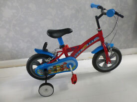 """PAW PATROL CHILDS 12"""" PAW PATROL BIKE IN RED & BLUE WITH STABILIZERS"""