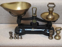 Vintage-style Libra Kitchen Scales and brass weights