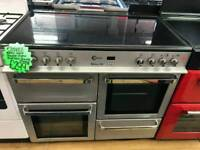 FLAVEL SILVER 100CM WIDE DOUBLE OVEN ALL ELECTRIC RANGE COOKER