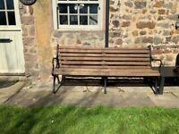 Antique Victorian cast iron,triple leg, scroll seat bench.