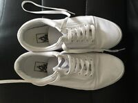 Vans white trainers size UK 6. Hardly been worn.