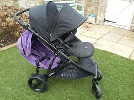 Britax B Dual tandwm double pushchair with raincover. VGC