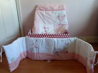 Cot bedding set, pink and white