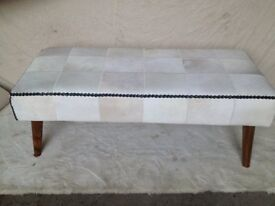 NEW GENUINE TEAK WOOD, COW HIDE TWO PERSON BENCH H470mm W1200mm, D540mm NEW