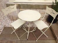 3 Pcs Bistro Set Garden Metal Table Chairs Folding Patio Cream
