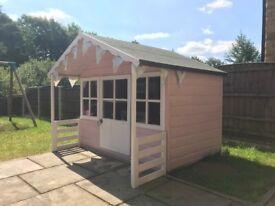 Pink Little Girls Pixie Outdoor Playhouse Toy Play Wendy House Kids Garden Wood Summer Children £595