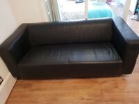 Klippan Ikea sofa black real leather