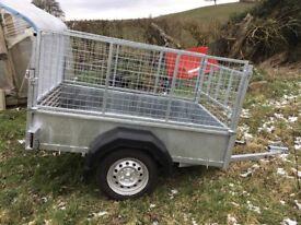 New galvanised 6x4 highmesh trailer