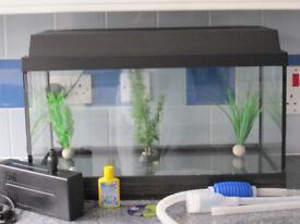 Fish Tank with Filtration Pump, Ornaments, Lighting, 30 lt glass