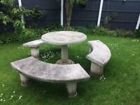 Stone and marble 3 curved benches and table very pretty for sale!