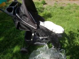 Hauck stroller +raincover +proof surf