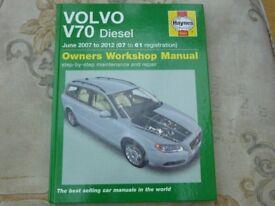 Haynes workshop manuel VOLVO v70 diesel car year 2007-2012