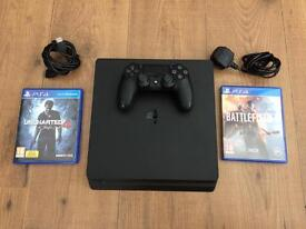 PlayStation 4 Slim with Battlefield 1 and Uncharted 4