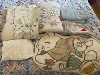 Winnie the Pooh cot bed bedding, curtains and rug