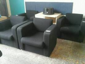 Black fabric reception chairs (four available)