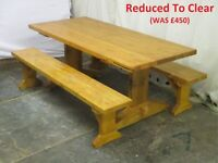Chunky farmhouse kitchen/dining table and bench set. New. Handmade in Wales.