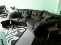 Brown suede looking sofa