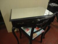 Ebonised/Mirrored Dressing table & chair