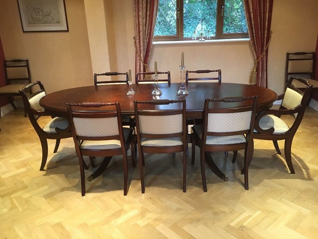 Mahogany Dining Room Table Eight Chairs And Sideboard
