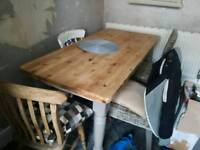 Shabby chic 5ft pine farmhouse kitchen table and 4 chairs