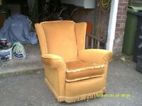 1970s Arm Chair. Recently upholstered. Fire retardent. Comfortable
