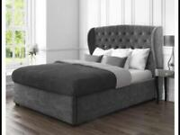 Grey bed with under bed storage