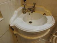White Ceramic corner sink with Mixer Tap, 47cm x 47cm