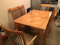DINING TABLE AND CHAIRS x6 - WOOD EFFECT