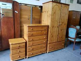 Pine double wardrobe with chest of drawers and bedside cabinet set