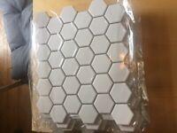 10x brand new white matte hexagonal tile sheets German made