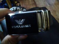 armani black leather belt