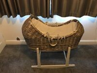 Moses wicker basket and stand like new