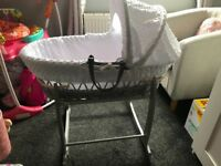 Claire de lune grey & white moses basket With stand and mattress