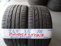 2 matching 245 35 18 bridgestone runflats 6mm tread £80 pair SUP & FITD 225 40 18rflts brand new £55