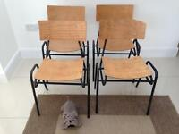 Mid century retro industrial Remploy of Stafford stackable chairs (x4)