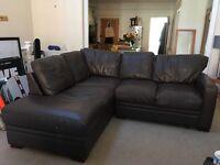 100% Leather Brown Sofa. Corner 'L' Configuration.