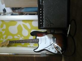 lefthanded fender squire strat with fender amp