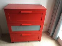 IKEA BRIMNES Chest of Drawers in Red PRICE LOWERED