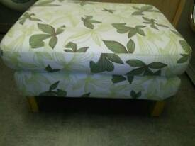 LARGE DOUBLE PADDED, FOOTSTOOL / POUFFE, WITH LIGHT WOOD FEET
