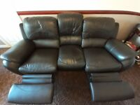 Dark brown faux leather recliner sofa