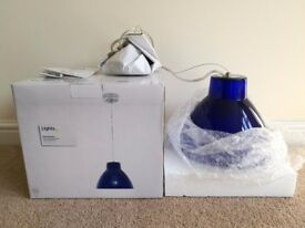 B&Q Blue Glass Pendant Ceiling Light – Brand New in Box