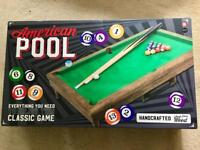 Miniature Wooden American Pool Table from M&S, still sealed and like new