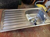 Sink with pillar taps